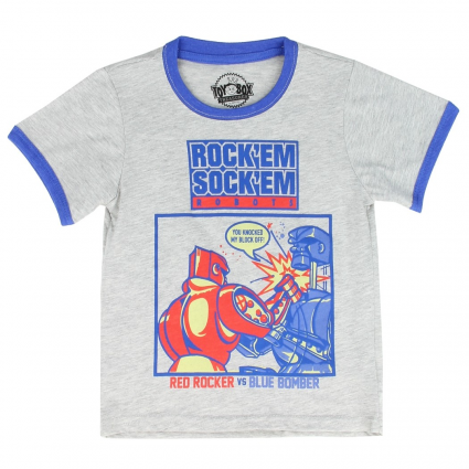 Toddler Boys Toybox Treasures Rock'em Sock'em Robots Grey Short Sleeve Shirt At Ivey's Gifts And Decor