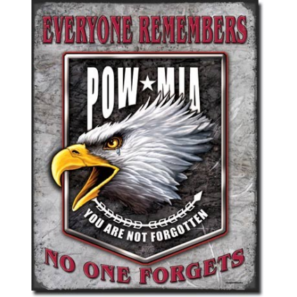 Screaming Eagle POW MIA Everyone Remembers No One Forgets Tin Sign Ivey's Gifts And Decor
