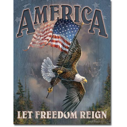 American Pride Let Freedom Reign Tin Sign Made In USA Ivey's Gifts And Decor