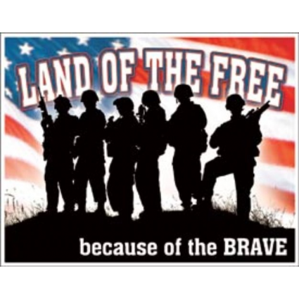 Desperate Enterprises Land Of The Free Because Of The Brave Tin Siign Ivey's Gifts and Decor
