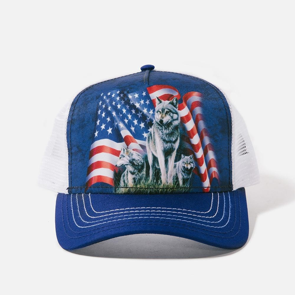 the mountain artwear american flag wolf pack trucker hat iveys gifts and decor loading zoom