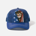 The Mountain Artwear Cute Kitten Peering Underneath American Flag Trucker Hat Ivey's Gifts and Decor The Woodlands Texas
