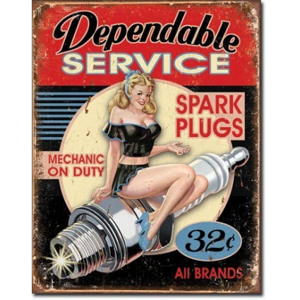 Dependable Service Mechanic On Duty Spark Plugs All Brands Tin Sign Ivey's Gifts And Decor