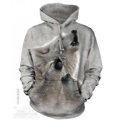 The Mountain Artwear Singing Lesson Wolf Adult Pullover Hoodie