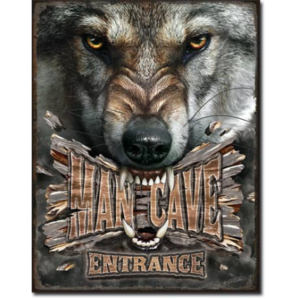 Man Cave Entrance Growling Wolf Tin Sign Houston Kids Fashion Clothing Store