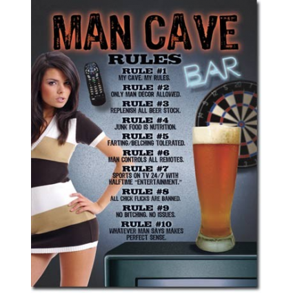 10 Rules For The Man Cave Tin Sign Ivey's Gifts and Decor