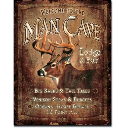 Welcome To The Man Cave Lodge and Bar Tin Sign Ivey's Gifts And Decor