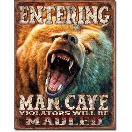 Entering Man Cave Grizzly Bear Tin Sign Ivey's Gifts and Decor