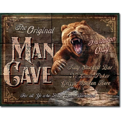 The Original Man Cave Invitation Only Tin Sign