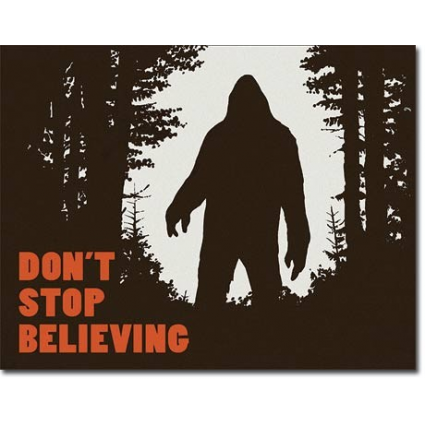 Big Foot Don't Stop Believing Tin Sign Ivey's Gifts and Decor