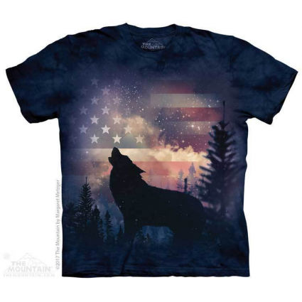 The Mountain Artwear Patriotic Wolf Adult Shirt