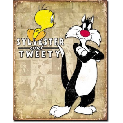 Looney Tune Sylvester And Tweety Bird Tin Sign Ivey's Gifts And Decor