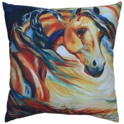Wind Horse Decorative Pillow From The Artist Marcia Baldwin Ivey's Gifts and Decor