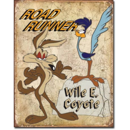 Roadrunner and Wile E Coyote Weathered Tin Sign Ivey's Gifts And Decor