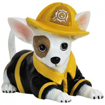 Aye Chihuahua Fireman Pup Mini Chihuahua FigurineIvey's Gifts and Decor