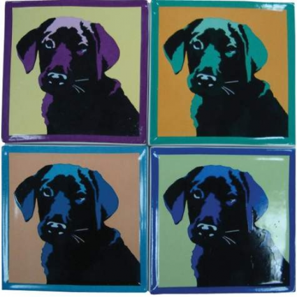 Bill Tosetti Black Lab 4 Coaster Set Ivey's gifts and Decor