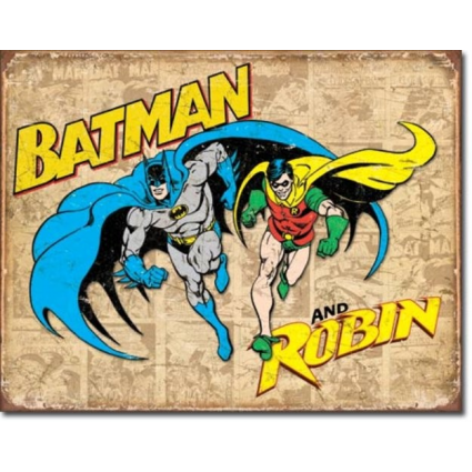 Desperate Enterprises DC Comics Batman and Robin Tin Sign Ivey's Gifts and Decor