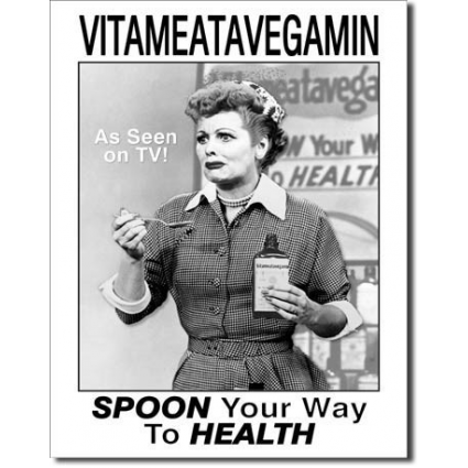 I Love Lucy Vitameatavegamin Episode Spoon your Way To Health Tin Sign Iveys Gifta And Decor