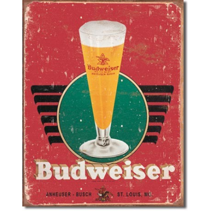 Budweiser Glass And Logo Weathered Retro Tin Sign Ivey's Gifts And Decor