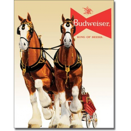 Desperate Enterprises Budweiser Clydesdale Horses Tin Sign Ivey's Gifts and Decor