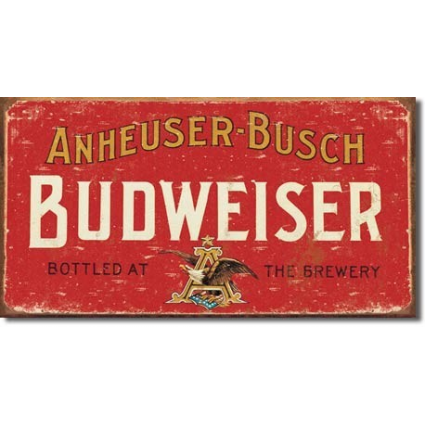 Anheuser Busch Budweiser Beer Bottled Here Tin Sign Ivey's Gifts and Decor