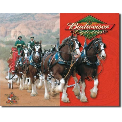 Budweiser Clydesdales Pulling The Beer Wagon Tin Sign Ivey's Gifts and Decor