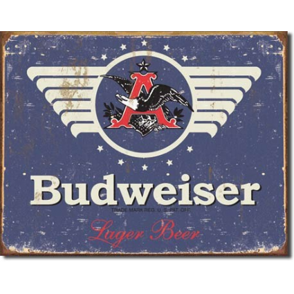 Desperate Enterpises Budweiser Beer Eagle 1936 Logo Weathered Tin Sign Ivey's Gifts and Decor