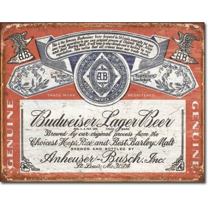 Anheuser Busch Budweiser Lager Beer Label Tin Sign Ivey's Gifts and Decor