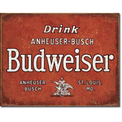 Desperate Enterprises Drink Anheuser Busch Budweiser Beer Tin Sign Ivey's Gifts and Decor