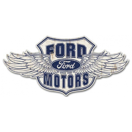 Ford Motors Winged Logo Premium Large Tin Road Sign Ivey's Gifts and Decor