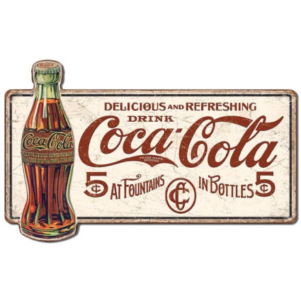 Drink Coca Cola Delicious 5 Cents Fountain Drinks Premium Large Tin Sign Ivey's Gifts and Decor