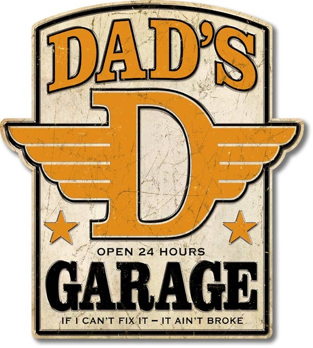 Dad's Garage Open Hours Large Premium Tin Sign Free Shipping