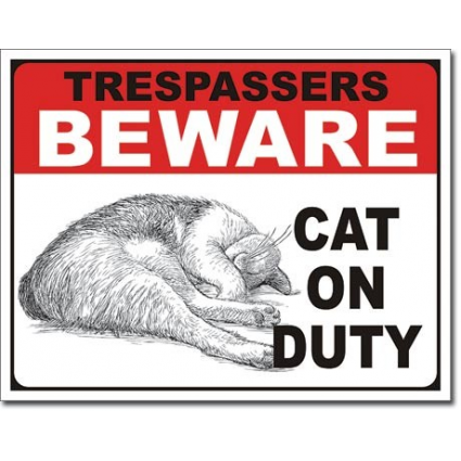 Desperate Enterprise Trespassers Beware Cat On Duty Tin Sign Ivey's Gifts And Decor