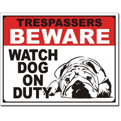Desperate Enterprises Trespassers Beware Watch Dog On Duty Tin Sign Ivey's Gifts and Decor