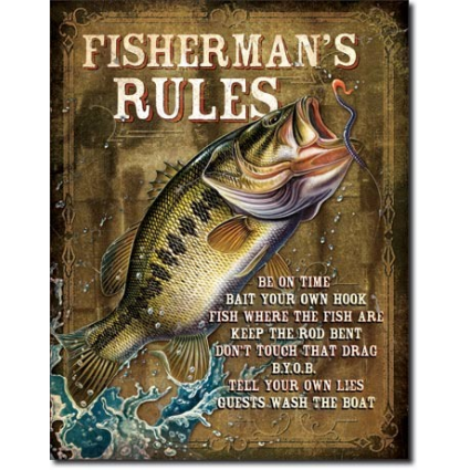 The Fisherman's 8 Rules Of Fishing Tin Sign Ivey's Gifts and Decor