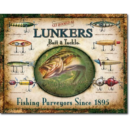 Lunker's Bait and Tackle Best Lures Around These Parts Tin Sign Ivey's Gifts and Decor