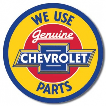 Desperate Enterprises We Use Genuine Chevy Parts Round Tin Sign Ivey's Gifts and Decor