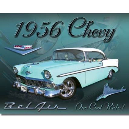 Desperate Enterprises One Cool Ride 1956 Chevrolet Bel Air Tin Sign Ivey's Gifts and Decor