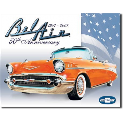 Desperate Enterprise 1957- 2007 Chevrolet Bel Air 50th Anniversary Tin Sign Ivey's Gifts and Decor