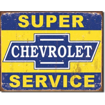 Desperate Enterprises Chevrolet Super Service Tin Sign Ivey's Gifts and Decor