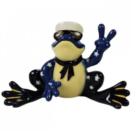 Peace Frogs Navy Ceramic Frog Figurine