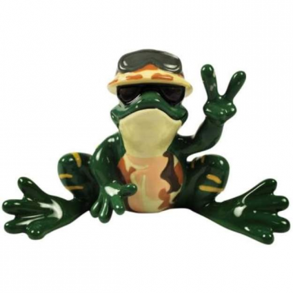 Peace Frogs Army Ceramic Frog Figurine