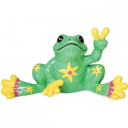 Peace Frogs Lime Green Flower Mini Ceramic Frog Figurine