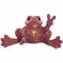 Peace Frogs Purple Flower Mini Ceramic Frog Figurine