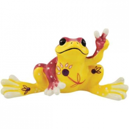 Peace Frogs Yellow Flower Mini Ceramic Frog Figurine