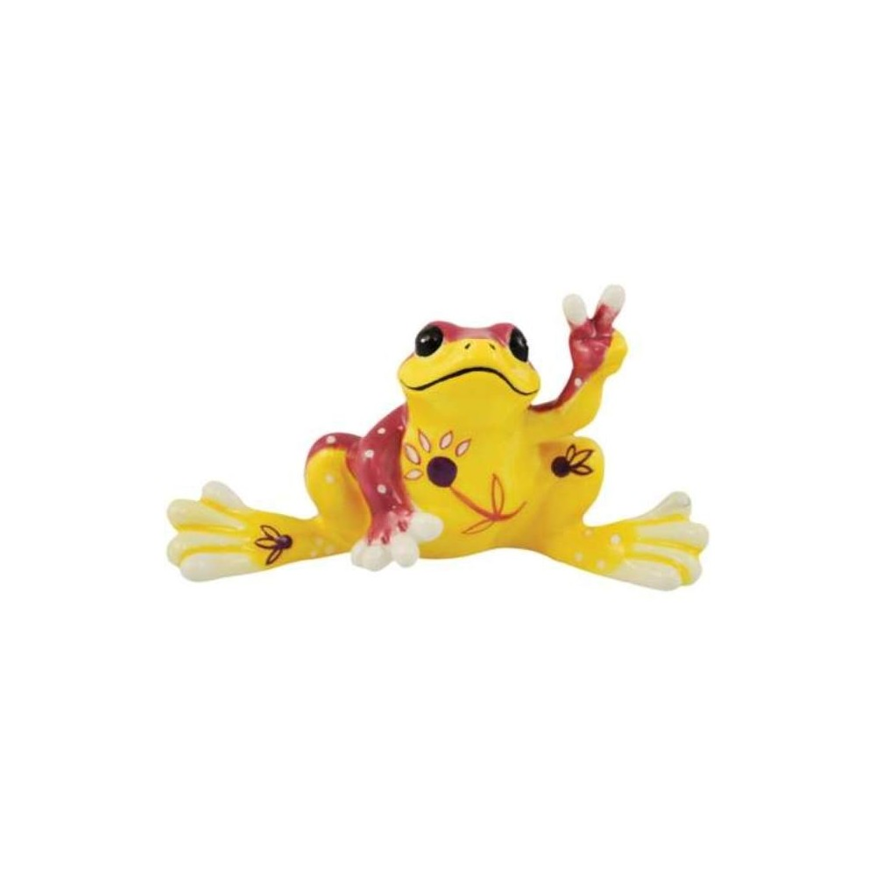 Peace Frogs Yellow Flower Mini Ceramic Frog Figurine
