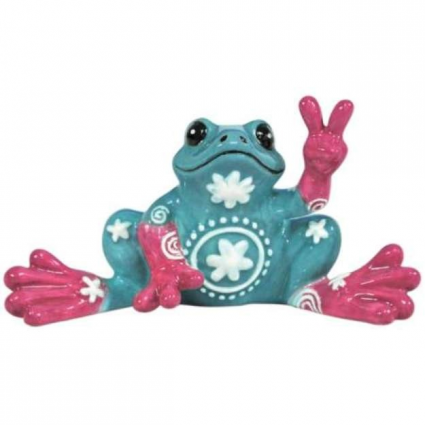 Peace Frogs Turquoise Flower Mini Ceramic Frog Figurine