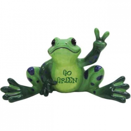 Peace Frogs Go Green Ceramic Frog Figurine