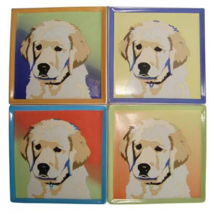 Yellow Lab Coasters Set Of 4 From The Bill Tosetti Collection