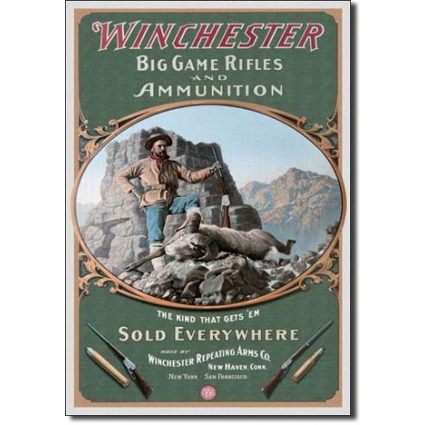 Winchester Big Game Rifles Metal Sign